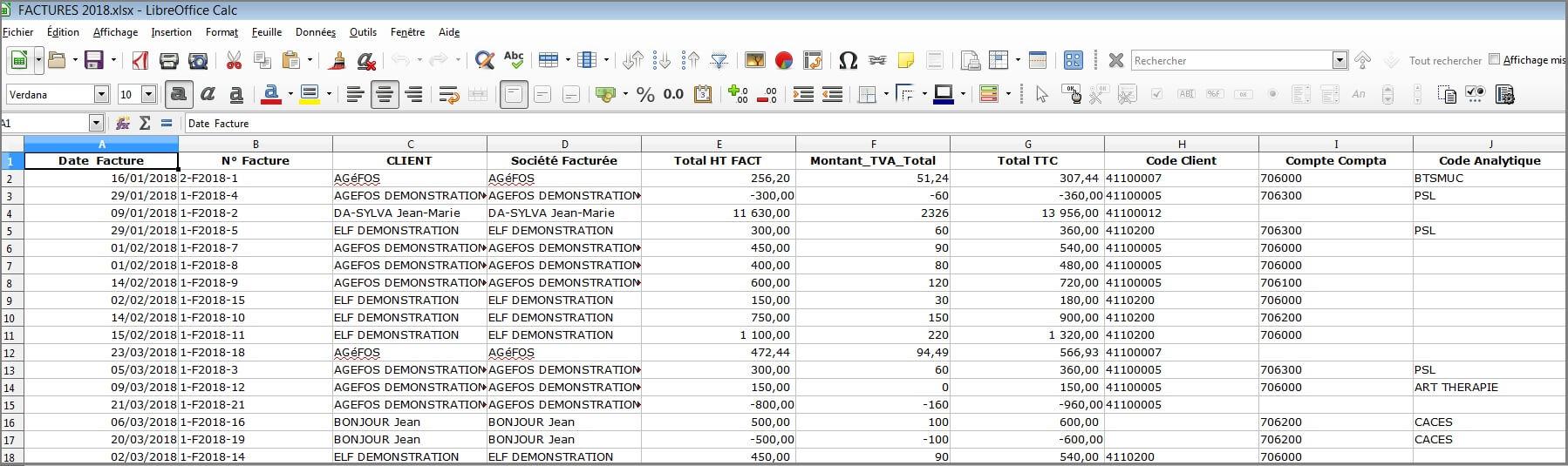 Factures - Fichier Excel