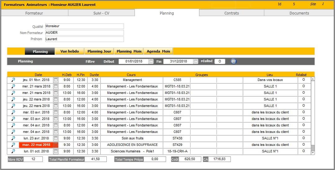 Formateur - Planning