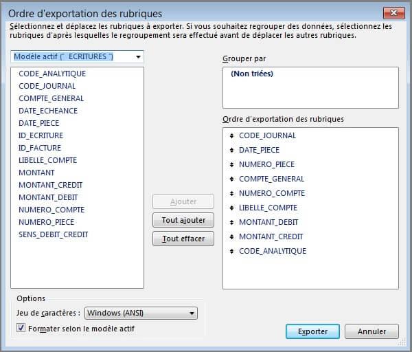 Paramètres - Export Ecriture Paramétrable