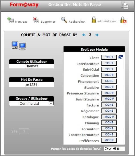 Paramètres - Gestion Profil
