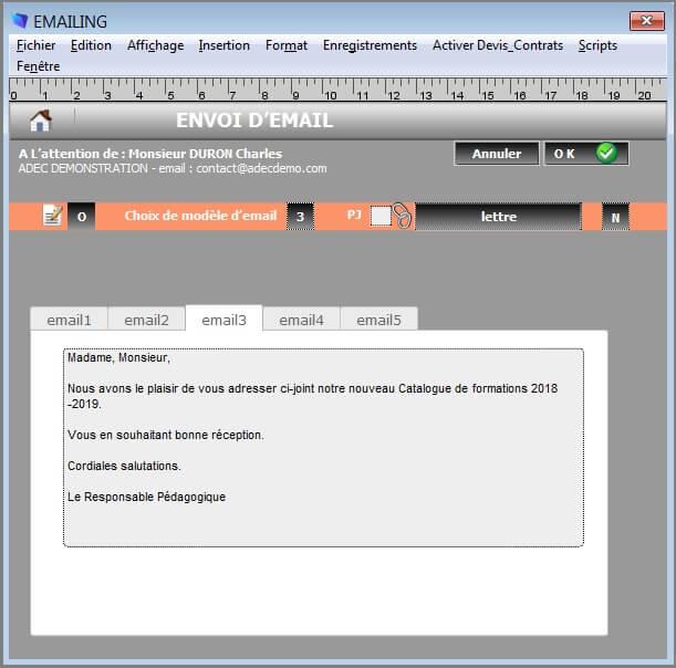 Paramètres - Message Email
