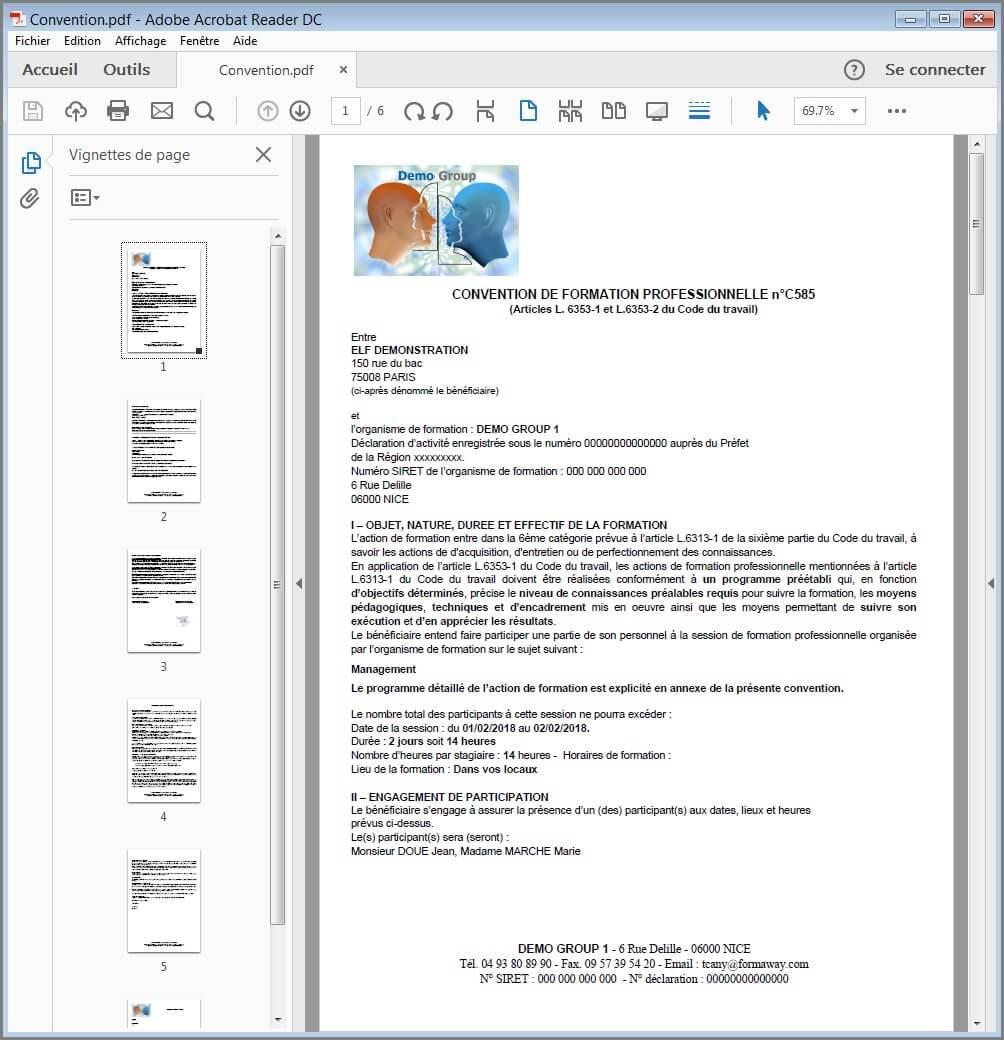 Paramètres - Modèle PDF