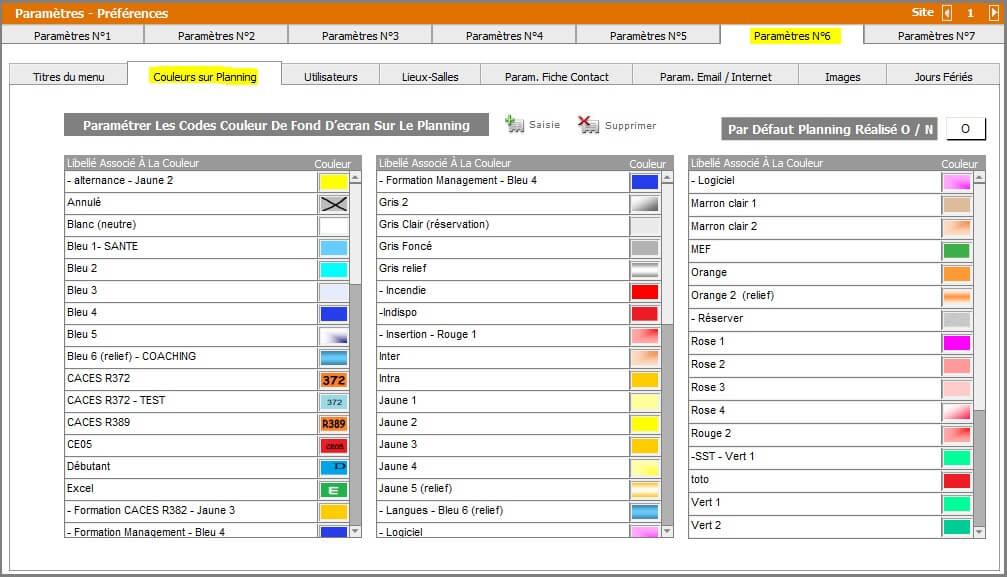 Paramètres - Paramétrage Couleur Planning