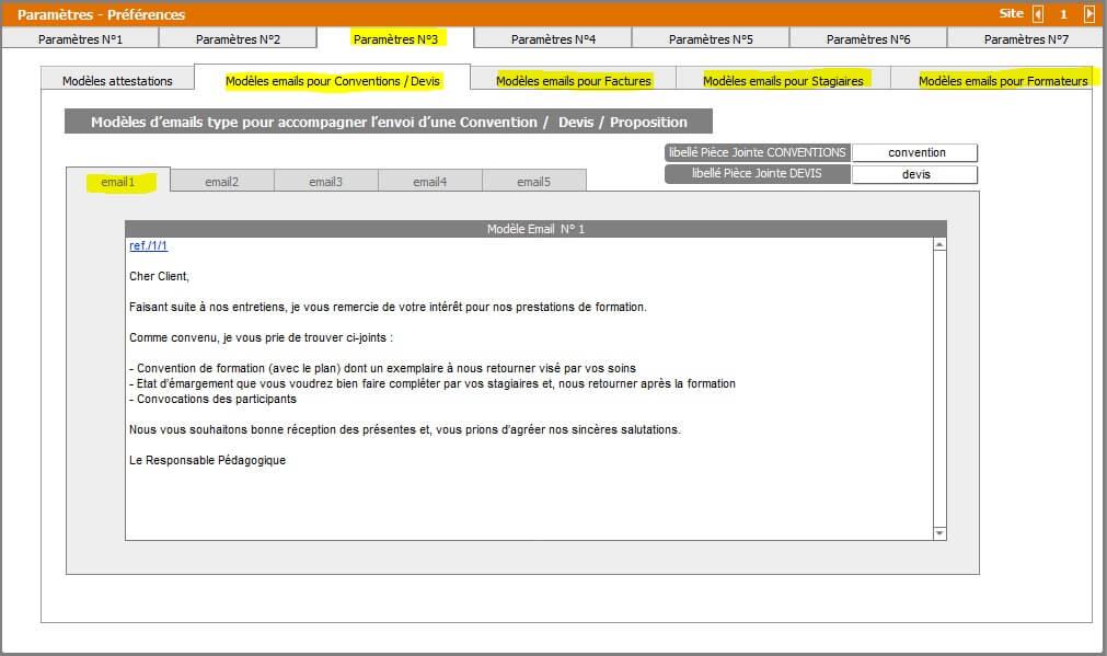 Paramètres - Paramétrage Emailing Convention