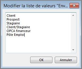 Paramètres - liste personnalisable par module