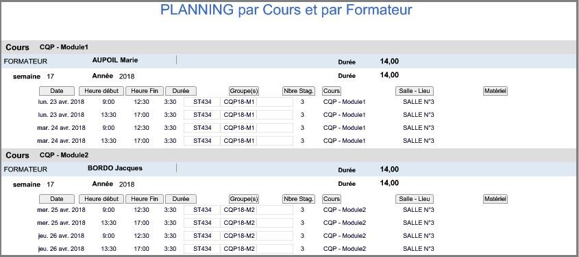 Planning - Etat Hebdo Cours Formateur