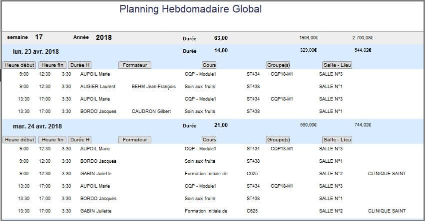 Planning - Etat Hebdo Global