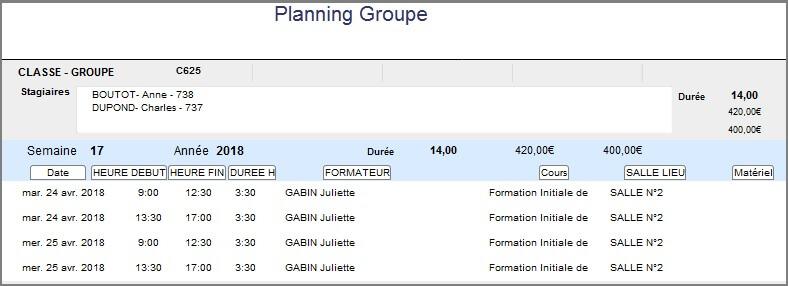 Planning - Etat Hebdo Groupe