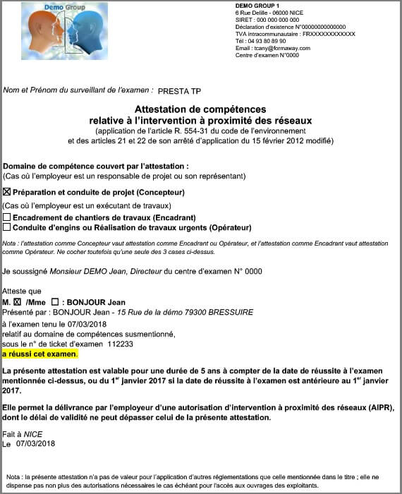 Stagiaire-Modele Attestation AIPR