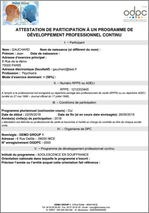 Stagiaire-Modele Attestation DPC
