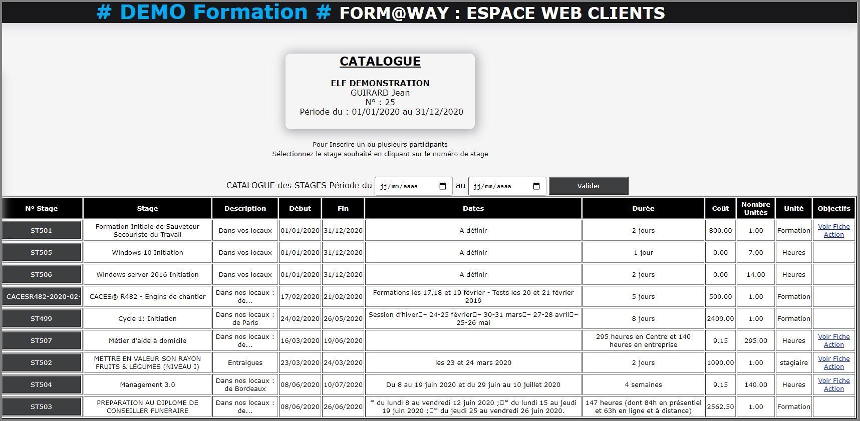 Portail Web Client - Catalogue