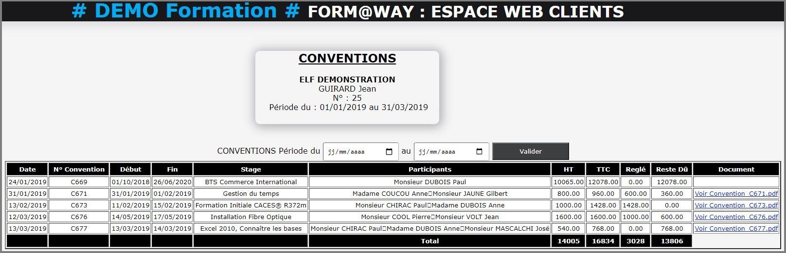 Portail Web Client - Convention
