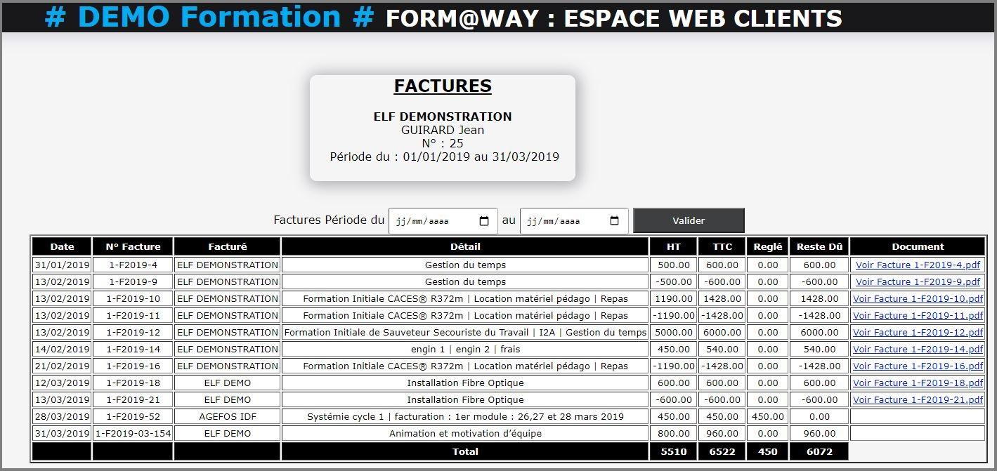 Portail Web Client - Facture