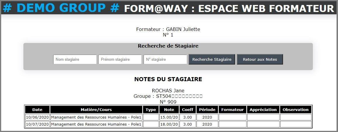 Portail Web Formateur - Notes