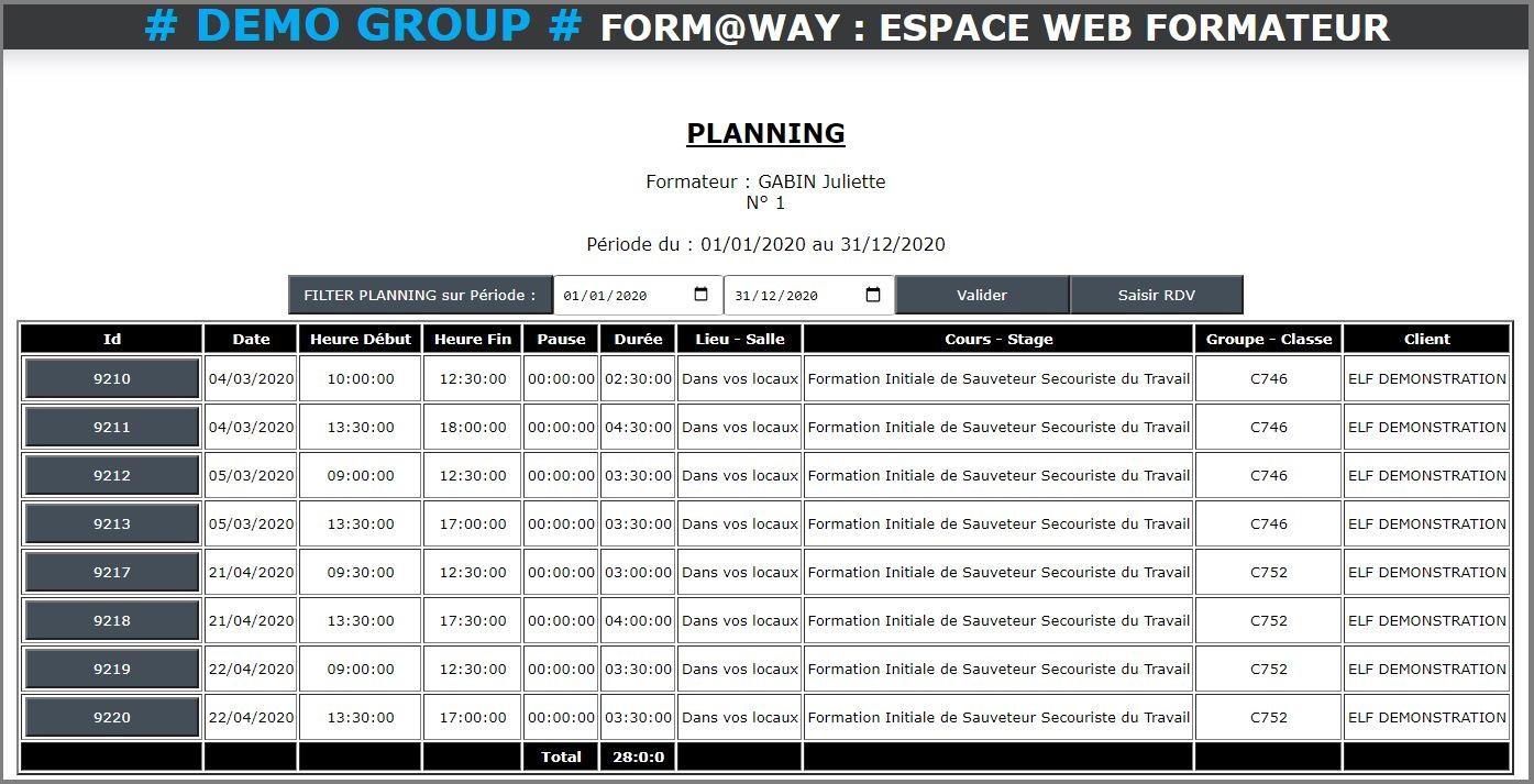 Portail Web Formateur - Planning