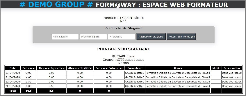 Portail Web Formateur - Pointage