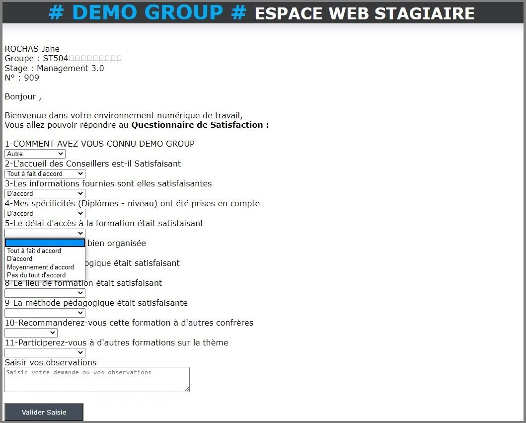 Portail Web Stagiaire - Questionnaire de satisfaction en ligne
