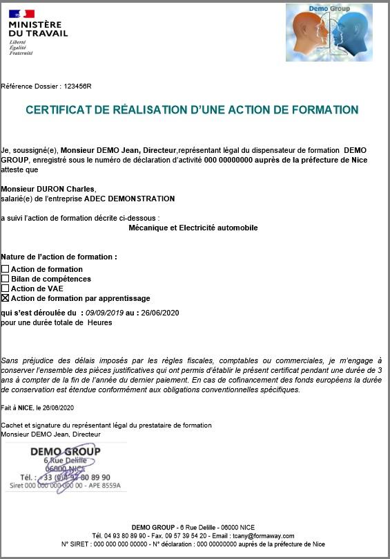 Stagiaire-Modele Certificat de realisation